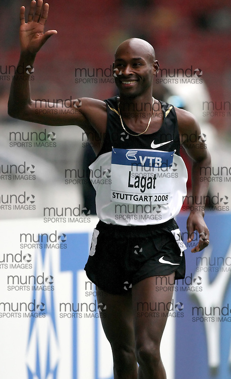 (Stuttgart, Germany---13 September 2008) Bernard Lagat takes a victor lap after winning the 3000m at the 2008 World Athletics Final. Lagat's time of 8:02.97 was a season's best. [Copyright Sean W. Burges/Mundo Sport Images, 2008.]