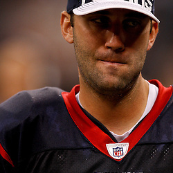 August 21, 2010; New Orleans, LA, USA; Houston Texans quarterback Matt Schaub (8) on the sideline during the second half of a 38-20 win by the New Orleans Saints over the Houston Texans during a preseason game at the Louisiana Superdome. Mandatory Credit: Derick E. Hingle