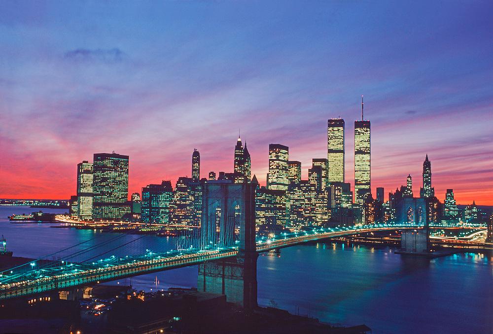 New York New York City Brooklyn Bridge And Lower