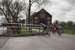Lotta Lepistö (FIN) of Cervélo-Bigla Cycling Team leads the front group onto the bridge at Electra during Stage 1b of the Healthy Ageing Tour - a 77.6 km road race, starting and finishing in Grijpskerk on April 5, 2017, in Groeningen, Netherlands.