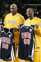 06 March 2006: Forward Lamar Odom and Guard Kobe Bryant of the Los Angeles Lakers, before the game against the San Antonio Spurs, hold up USA basketball jerseys after deciding to play for the USA National team at the STAPLES Center in Los Angeles, CA.