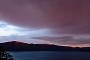Stormy sunset over Lake Tahoe looking south from Kings Beach area.