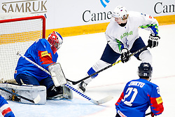 Matt Dalton of South Korea vs Jan Drozg of Slovenia during ice hockey match between South Korea and Slovenia at IIHF World Championship DIV. I Group A Kazakhstan 2019, on April 30, 2019 in Barys Arena, Nur-Sultan, Kazakhstan. Photo by Matic Klansek Velej / Sportida