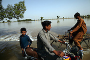 People make there way along a flooded road as flood water inundates the surrounding area after Manchar Lake bursts its banks. Officials  made a breach in the lake's embankments to direct water away from the nearby cities of Dadu and Sehwan, in Sindh Province, Pakistan.