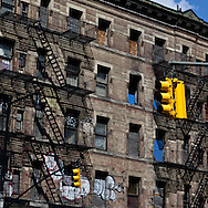 New York . yellow cabs on eight avenue  / taxi jaune sur la huitieme avenue