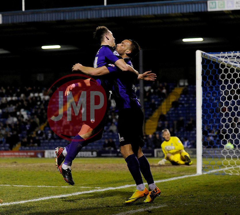 Bristol Rovers' Ollie Clarke celebrates his goal with Bristol Rovers' Kaid Mohamed - Photo mandatory by-line: Dougie Allward/JMP - Mobile: 07966 386802 01/04/2014 - SPORT - FOOTBALL - Bury - Gigg Lane - Bury v Bristol Rovers - Sky Bet League Two