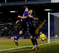 Bristol Rovers' Ollie Clarke celebrates his goal with Bristol Rovers' Kaid Mohamed - Photo mandatory by-line: Dougie Allward/JMP - Mobile: 07966 386802 01/04/2014 - SPORT - FOOTBALL - Bury - Gigg Lane - Bury v Bristol Rovers - Sky Bet League Two