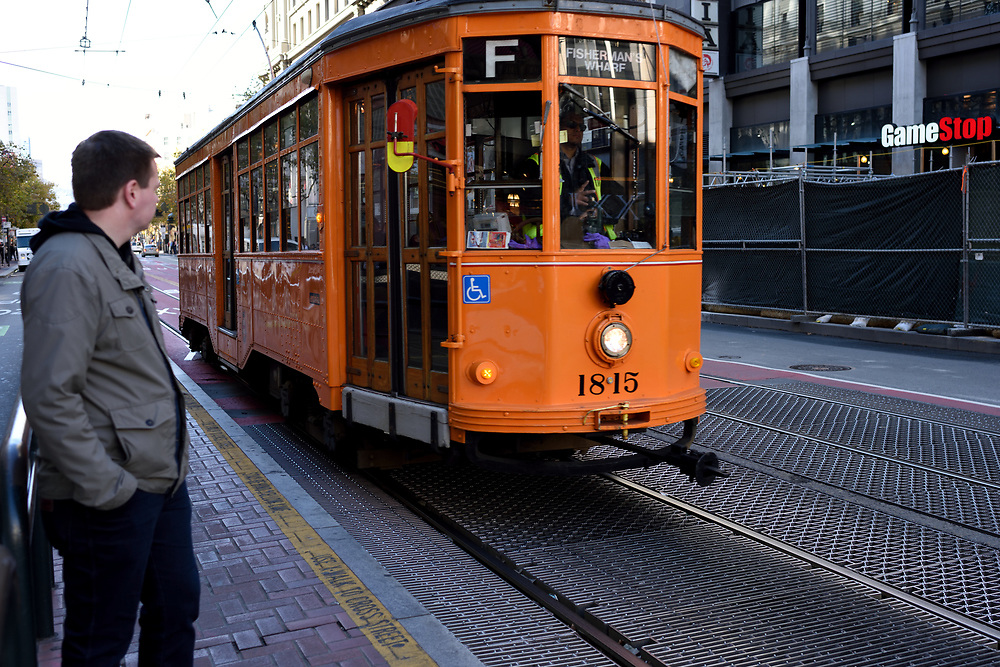 A San Francisco's Vintage Streetcar in San Francisco, California on November 18'th, 2017. San Francisco's Municipal Railway has assembled one of the most diverse collections of vintage streetcars, trolleys, and trams in transit service. Photo by Gili Yaari