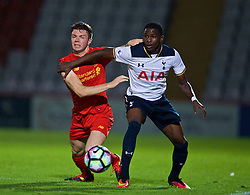 STEVENAGE, ENGLAND - Monday, September 19, 2016: Liverpool's Joe Maguire in action against Tottenham Hotspur's Shilow Tracey during the FA Premier League 2 Under-23 match at Broadhall. (Pic by David Rawcliffe/Propaganda)