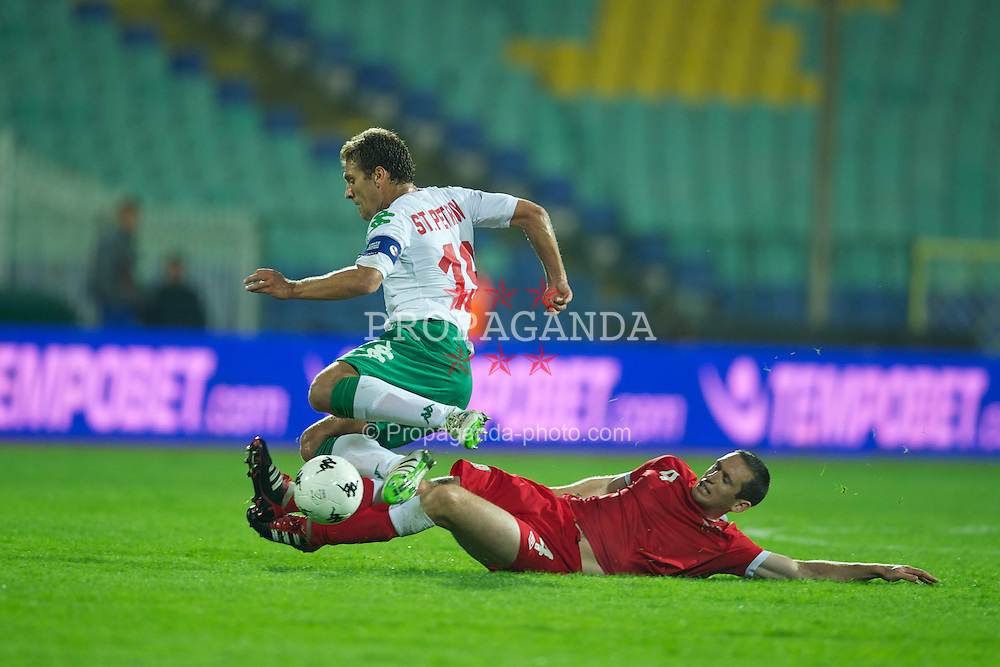SOFIA, BULGARIA - Tuesday, October 11, 2011: Wales' Andrew Crofts tackles Bulgaria's captain Stilyan Petrov during the UEFA Euro 2012 Qualifying Group G match at the Vasil Levski National Stadium. (Pic by David Rawcliffe/Propaganda)