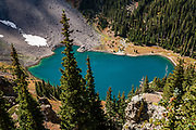 Lower Blue Lake, in Mt Sneffels Wilderness, Uncompahgre National Forest, San Juan Mountains, near Ridgway, Colorado, USA.