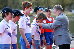 Major of Bled gives medals to young rowers at 49th Prvomajska regata, on April 20, 2008, in Bled Lake, Slovenia.  (Photo by Vid Ponikvar / Sportal Images)./ Sportida)