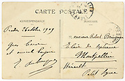 French hand written back of postcard from 1909