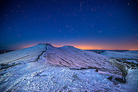 Pen y Fan and Corn Du in snow<br /> Brecon Beacons<br /> Powys<br /> Dark Skies<br /> South
