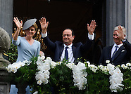 François Hollande, Queen Mathilde and King Philippe commemorations Liege Town Hall