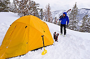 Backcountry skier and winter camp, Ansel Adams Wilderness, Sierra Nevada Mountains, California USA