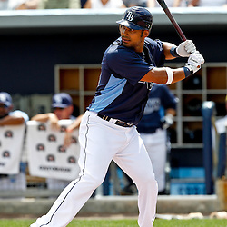 March 21, 2012; Port Charlotte, FL, USA; Tampa Bay Rays first baseman Carlos Pena (23) against the New York Yankees during a spring training game at Charlotte Sports Park.  Mandatory Credit: Derick E. Hingle-US PRESSWIRE