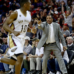 Jan 23, 2017; New Orleans, LA, USA; New Orleans Pelicans head coach Alvin Gentry reacts during the second quarter of a game against the Cleveland Cavaliers at the Smoothie King Center. The Pelicans defeated the Cavaliers 124-122. Mandatory Credit: Derick E. Hingle-USA TODAY Sports