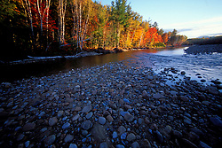 A cobble beach on the Saco River in New Hampshire's White Mountains  Bartlett, NH
