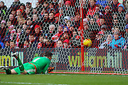 Nottingham Forest goalkeeper Dorus de Vries watches the ball go in to the back of the net as Huddersfield take a 1-0 lead during the Sky Bet Championship match between Nottingham Forest and Huddersfield Town at the City Ground, Nottingham, England on 13 February 2016. Photo by Aaron  Lupton.