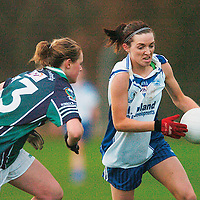30 November 2007; Michelle Downes, West Clare Gaels, Clare, in action against Amy Connolly, Foxrock Cabinteely, Dublin. VHI Healthcare All-Ireland Ladies Junior Club Football Championship Final, West Clare Gaels, Clare v Foxrock Cabinteely, Dublin, Toomevarra, Co. Tipperary. Picture credit: Brian Lawless / SPORTSFILE *** NO REPRODUCTION FEE ***