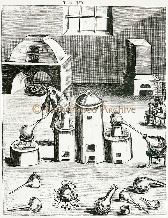 'Distillation: In centre is an athanor (digesting furnace) to its right an alembic  feeds distillate into receiver.  From ''Magia naturalis', Nuremberg, 1715, by Johannis Baptista della Porta. First edition 1558.'