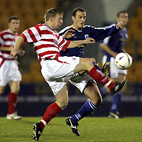 St Johnstone v Hamilton Accies..06.11.04<br />Paul Sheerin is tackled by ????<br /><br />Picture by Graeme Hart.<br />Copyright Perthshire Picture Agency<br />Tel: 01738 623350  Mobile: 07990 594431