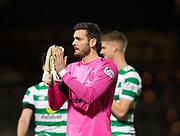 31st October 2018, Kilmac Stadium, Dundee, Scotland; Ladbrokes Premiership football, Dundee v Celtic; Craig Gordon of Celtic applauds the fans at the end of the match