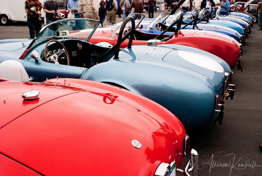 Vintage race cars at Laguna Seca during the Reunion events of Monterey Car Week