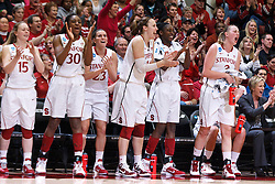 March 21, 2011; Stanford, CA, USA; Stanford Cardinal guard Lindy La Rocque (15), forward Nnemkadi Ogwumike (30), guard Jeanette Pohlen (23), forward Kayla Pedersen (14), forward Chiney Ogwumike (13) and forward Mikaela Ruef (3) cheer their team from the bench during the second half of the second round of the 2011 NCAA women's basketball tournament against the St. John's Red Storm at Maples Pavilion. Stanford defeated St. John's 75-49.