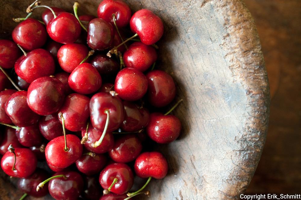 Cherries in a wood bowl