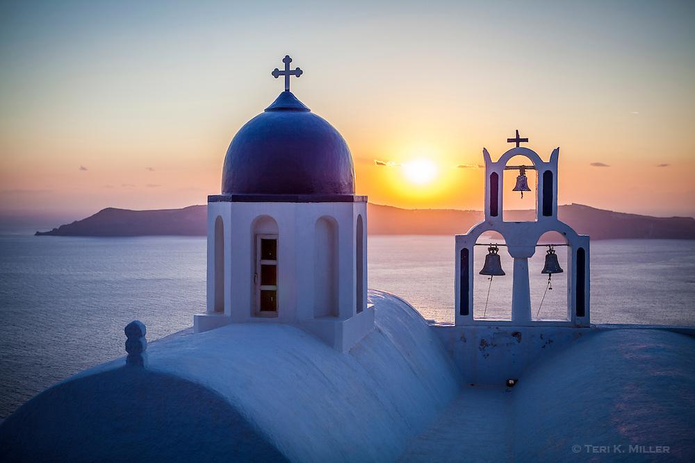 Church at sunset, Imerovigli, Santorini, Greece