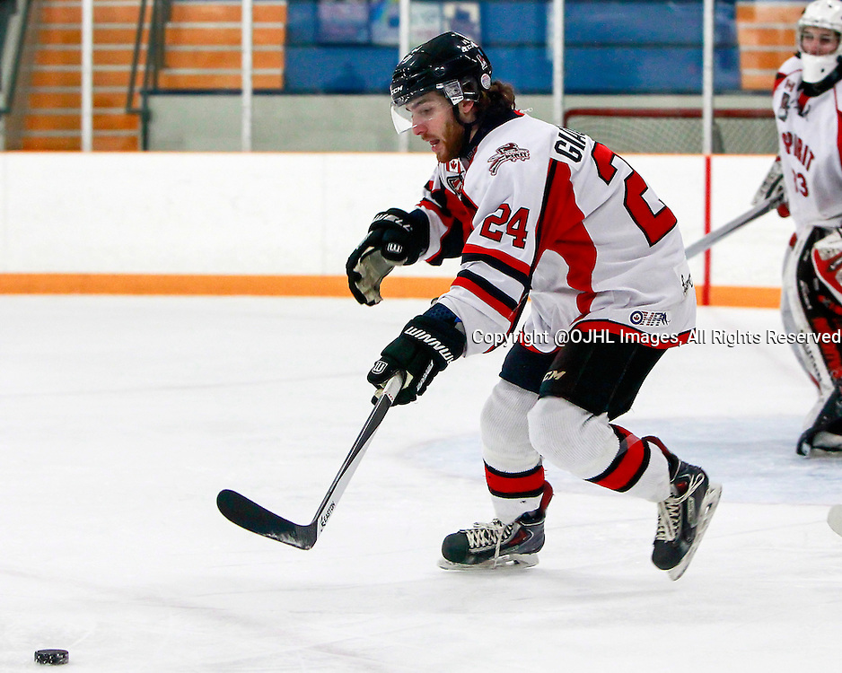 STOUFFVILLE, ON - Jan 24, 2015 : Ontario Junior Hockey League game action between Pickering and Stouffville, Michael Giacommeti #24.<br /> (Photo by Brian Watts / OJHL Images)