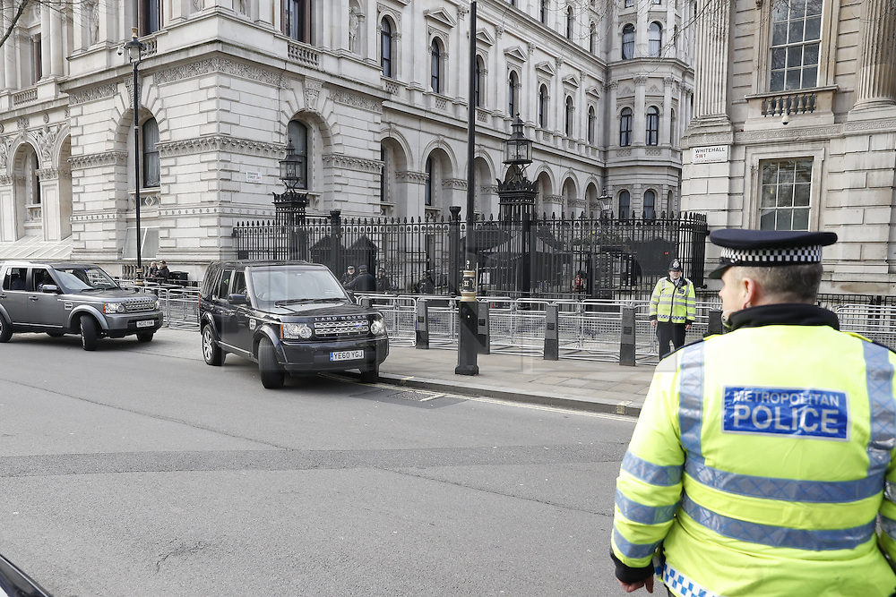 © Licensed to London News Pictures. 06/02/2017. London, UK. Security is very tight as protestors gather outside Downing Street as Israeli Prime Minister Benjamin Netanyahu meets with British Prime Minister Theresa May. Photo credit: Peter Macdiarmid/LNP