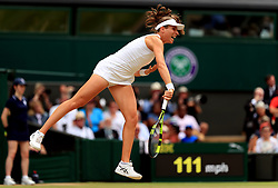 Johanna Konta in action against Venus Williams on day ten of the Wimbledon Championships at The All England Lawn Tennis and Croquet Club, Wimbledon.