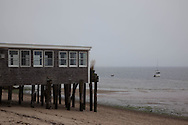 United States. Cape Cod in Massachussets. traditional stilts house on the beach , provincetown city in