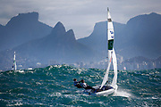 Nadja Horwitz and Sofia Middleton from Chile sail during a 470 Womens class race in the Rio 2016 Olympic Games Sailing events in Rio de Janeiro, Brazil, 11 August 2016.