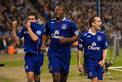 MANCHESTER, ENGLAND - Monday, February 25, 2008: Everton's goalscorer Yakubu Ayegbeni celebrates the opening goal with team-mates Tim Cahill (L) and Leon Osman (R) against Manchester City during the Premiership match at the City of Manchester Stadium. (Photo by David Rawcliffe/Propaganda)