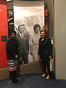 Photo ©Suzi Altman 12/5/17 Jackson,MS Pamela D.C. Junior, Director of the Mississippi Civil Rights Museum, left, gives Judy Meredith, James Meredith's  wife a private tour of the museum before its official opening on Saturday Dec. 9th. They are pictured in front of the James Meredith- Ole Miss Riots exhibit. President Trump is expected to attend the opening of the Mississippi Civiil Rights and History Museums. Protests are planned in response to President Trumps announced attendance of the opening of the Civil Rights Museum. Photo©SuziAltman
