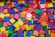 Colored blocks used in a math classroom at The Rusk School, April 7, 2014.