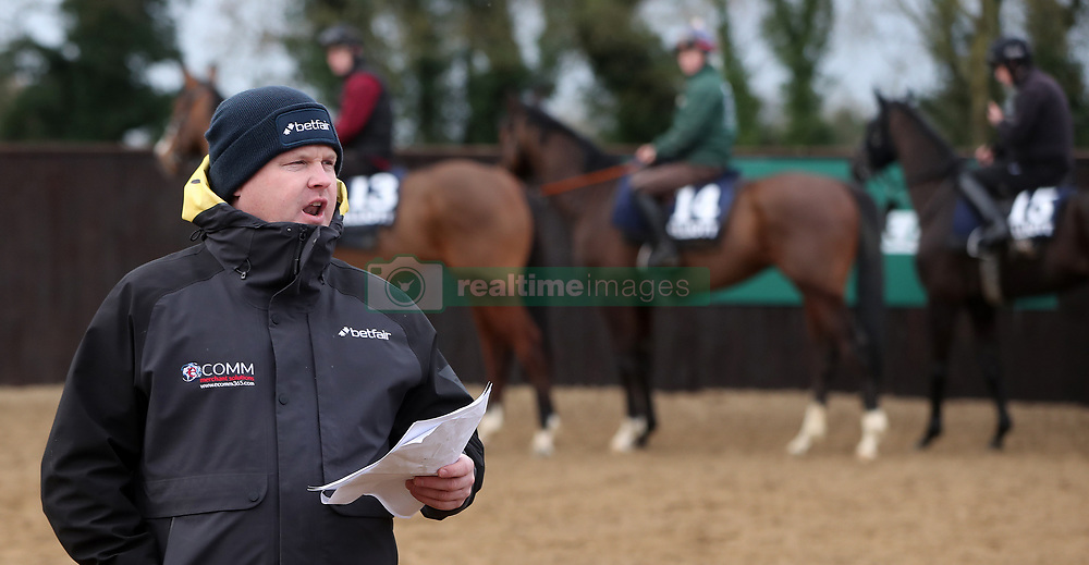 Gordon Elliott gives instructions to Jockeys during the stable visit to his yard at Cullentra House, County Meath.