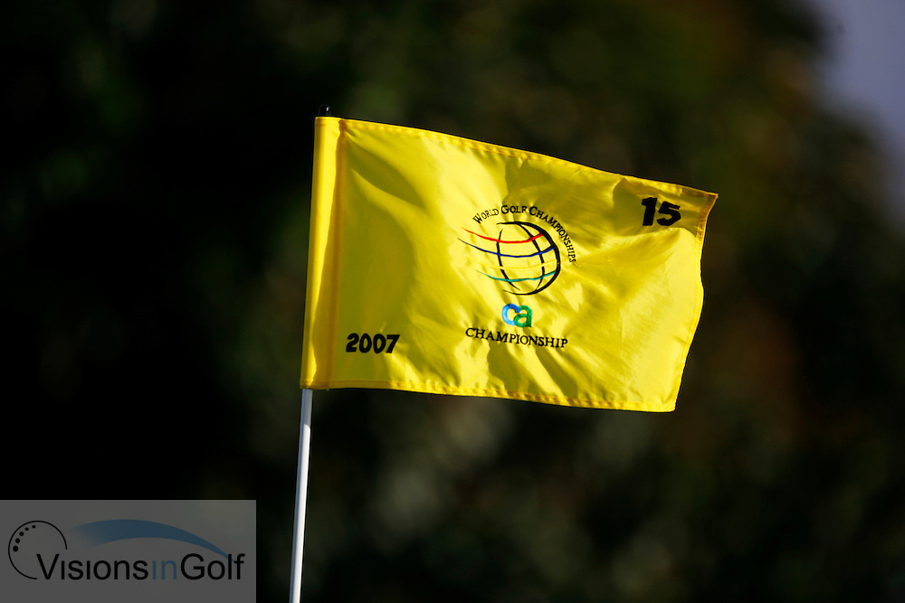Flag on the final day of the WGC CA Championship, Doral, Blue monster GC, Florida USA. March 2007. <br /> Picture Credit:   Mark Newcombe / visionsingolf.com