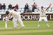 WICKET - Neil Dexter is LBW to Brett Hutton during the Specsavers County Champ Div 2 match between Northamptonshire County Cricket Club and Leicestershire County Cricket Club at the County Ground, Wantage Road, Abingdon, United Kingdom on 26 June 2019.