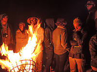 High Desert Test Sites 2013. Travelers gathering around a bonfire in Arcosanti, AZ.