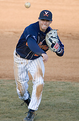 Virginia Cavaliers infielder Greg Miclat (2) throws to first base.  The Virginia Cavaliers Baseball Team defeated the George Washington University Colonials 15-2 to complete a sweep of the three game series on February 19, 2007 at Davenport Field, Charlottesville, VA.