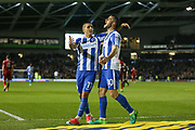 Brighton & Hove Albion winger Anthony Knockaert (11) congratulates Brighton & Hove Albion centre forward Tomer Hemed (10) for his goal 2-0 during the EFL Sky Bet Championship match between Brighton and Hove Albion and Birmingham City at the American Express Community Stadium, Brighton and Hove, England on 4 April 2017. Photo by Phil Duncan.