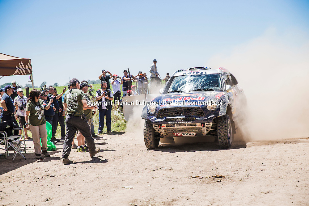 Nasser Al-Attiyah at finish line stage 1 of Rally Dakar 2015 from Buenos Aires to Villa Carlos Paz on January 4th, 2015 // Flavien Duhamel/Red Bull Content Pool // P-20150104-00151 // Usage for editorial use only // Please go to www.redbullcontentpool.com for further information. //