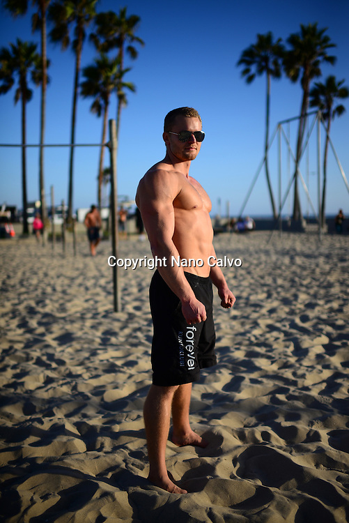 Finnish athlete and coach, Aaro Helander, in Venice Beach Calisthenics park, Los Angeles.