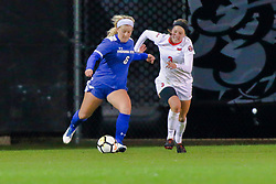 NORMAL, IL - October 17:  Pam Silies & Kiley Czerwinski during an NCAA Missouri Valley Conference (MVC)  women's soccer match between the Indiana State Sycamores and the Illinois State Redbirds October 17 2018 on Adelaide Street Field in Normal IL (Photo by Alan Look)