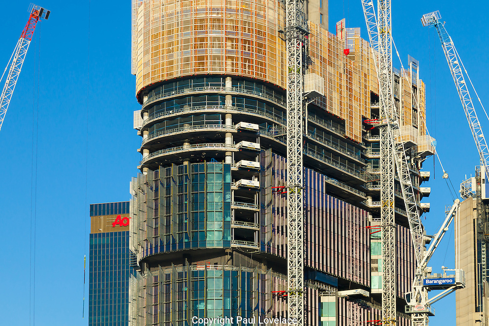 Construction of the new  James Packer Sydney Casino, Barangaroo. Its in a prime location in Sydney and this is the view from Pyrmont Bay area of Sydney. British architects Wilkinson Eyre have been awarded the assignment of designing the dream resort casino at Barangaroo- 23 Nov 2014